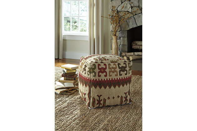 Multi-Color Aarav Pouf by Ashley HomeStore, Cotton/Wool