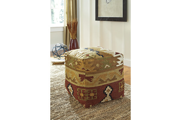 Multi-Color Abner Pouf by Ashley HomeStore