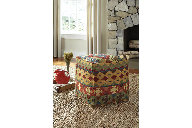 Multi-Color Adolfo Pouf by Ashley HomeStore