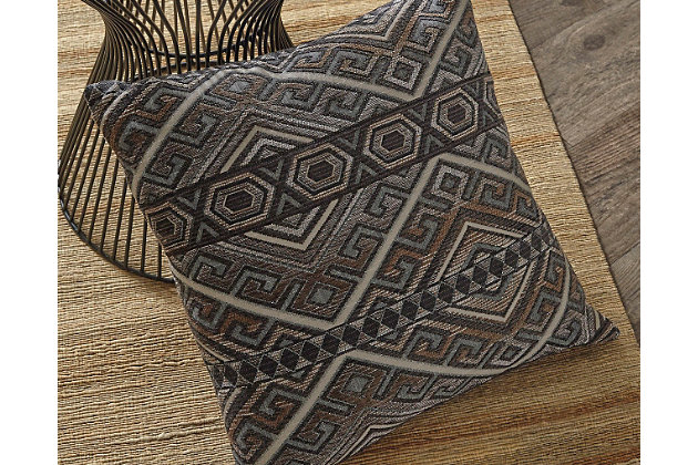 Erata Pillow by Ashley HomeStore, Gray & Brown, Poly Jacquard (100 %)