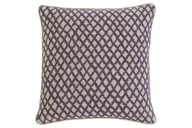 Stitched Pillow and Insert by Ashley HomeStore, Purple, L...