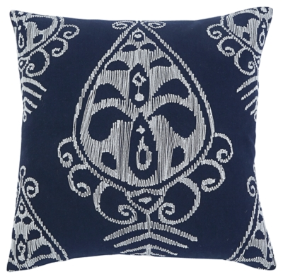 Ashley Embroidered Pillow Cover, Navy