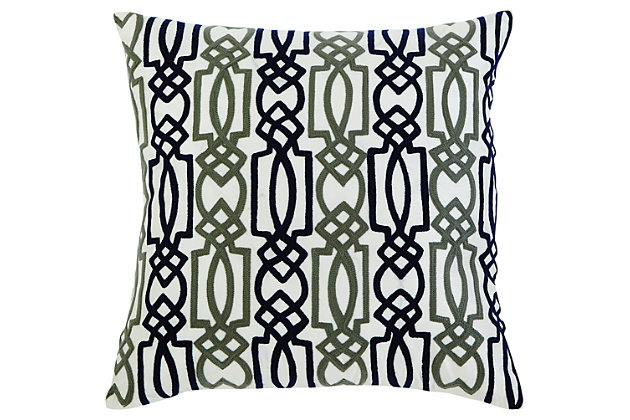 Embroidered Pillow by Ashley HomeStore, Navy