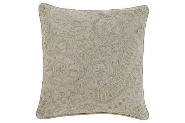 Stitched Pillow and Insert by Ashley HomeStore, Tan