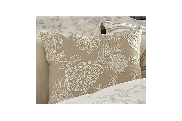 Embroidered Pillow and Insert by Ashley HomeStore, Tan
