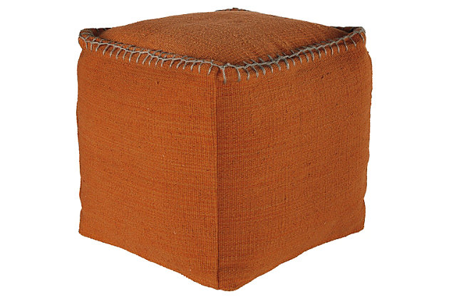 Caius Pouf by Ashley HomeStore, Black & Rust, Cotton (100 %)