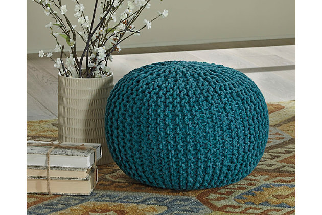Teal Nils Pouf by Ashley HomeStore, Cotton (100 %)