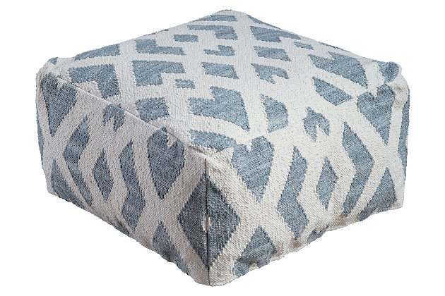 Badar Pouf by Ashley HomeStore, Teal & White