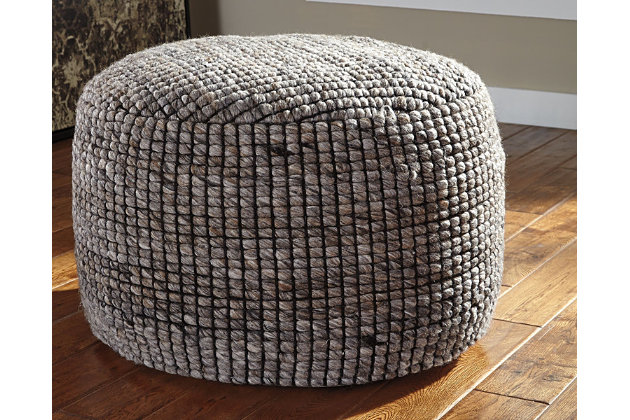 Achiles Pouf by Ashley HomeStore, Tan, Polyester (100 %)