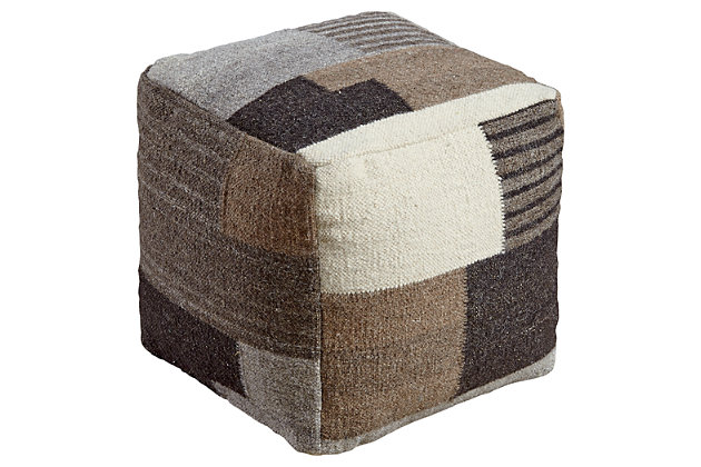 Calbert Pouf by Ashley HomeStore, , Wool (100 %)
