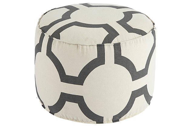 Gray Geometric Pouf by Ashley HomeStore, Cotton (100 %)