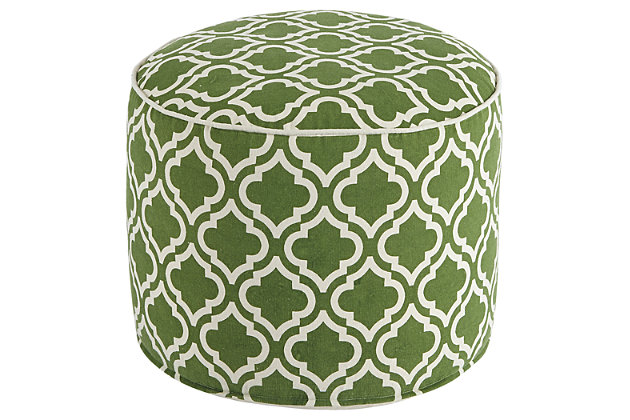 Green & White Geometric Pouf by Ashley HomeStore