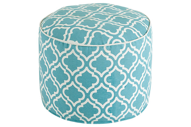 Turquoise Geometric Pouf by Ashley HomeStore