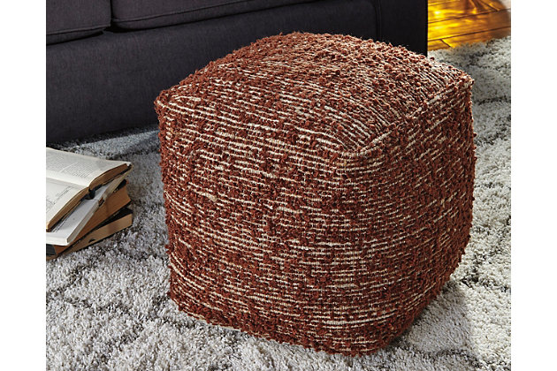 Darita Pouf by Ashley HomeStore, Brown, Polyester