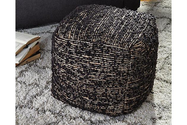 Darita Pouf by Ashley HomeStore, Black, Polyester