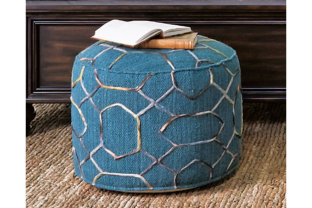 Overdyed Pouf by Ashley HomeStore, Green