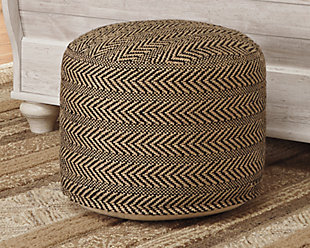 Chevron Pouf, Natural/Black, rollover