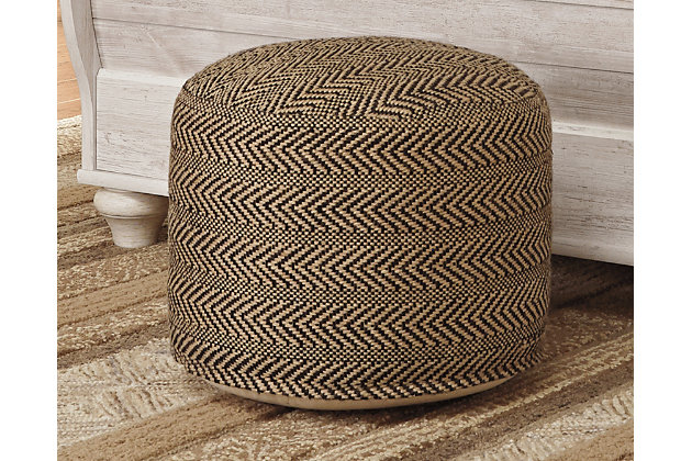 Chevron Pouf, Natural, large