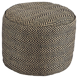 Chevron Pouf, Natural/Black, large