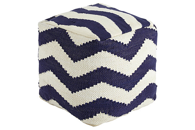 Blue Chevron Pouf by Ashley HomeStore