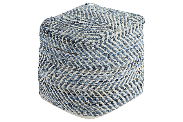 Chevron Pouf, , large