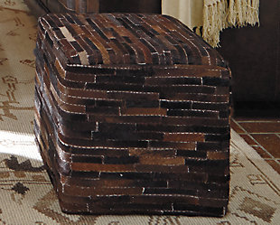 Cowhide Pouf, Dark Brown, rollover