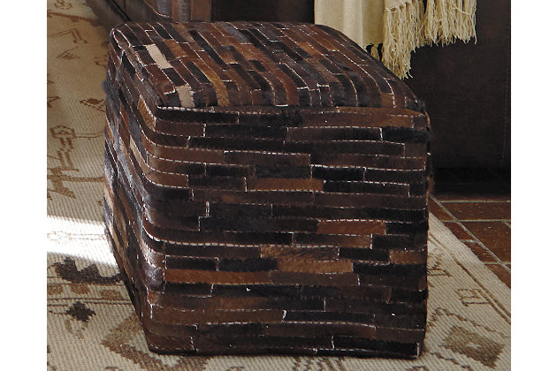 Cowhide Pouf, Dark Brown, large