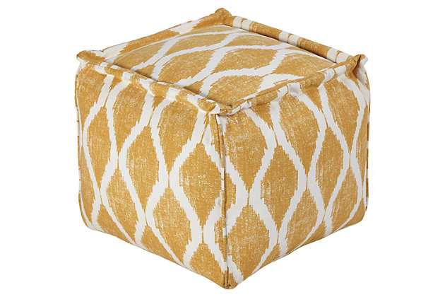 Yellow & White Bruce Pouf by Ashley HomeStore, Cotton (100 %)