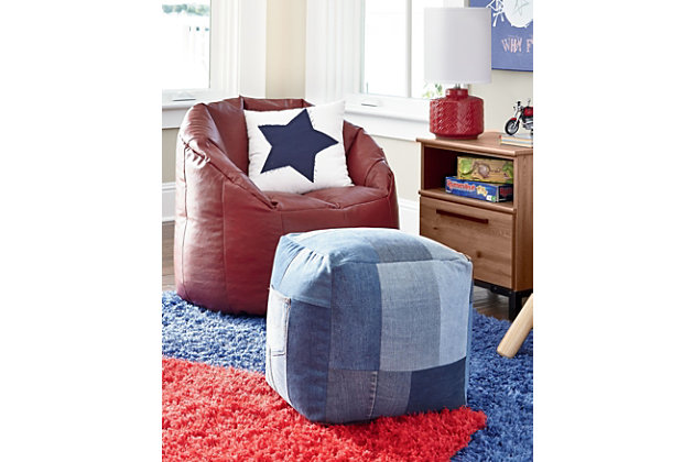 Aaden Pouf by Ashley HomeStore, Blue