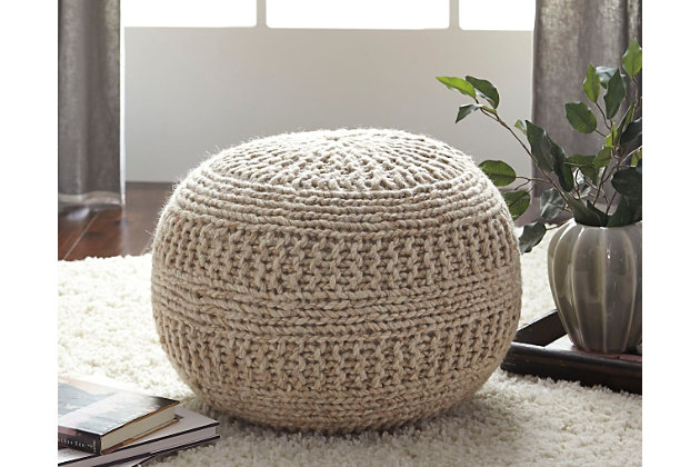 Tan Benedict Pouf by Ashley HomeStore