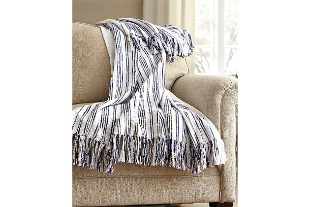Blue Callumn Throw by Ashley HomeStore, Cotton (100 %)