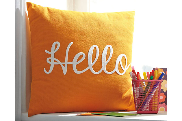 Orange Shapeleigh Pillow by Ashley HomeStore, Cotton (100 %)