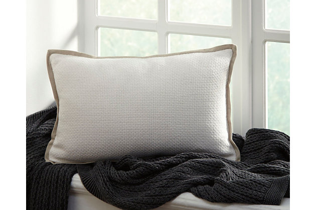 White Leonie Pillow by Ashley HomeStore, Cotton (100 %)