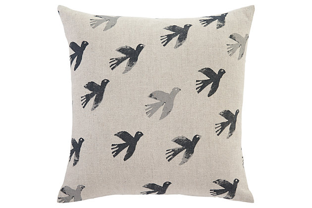 Draven Pillow and Insert by Ashley HomeStore, Gray & Beige