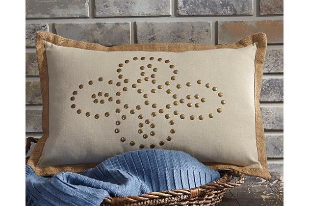 Tan Castine Pillow by Ashley HomeStore, Cotton/Viscose