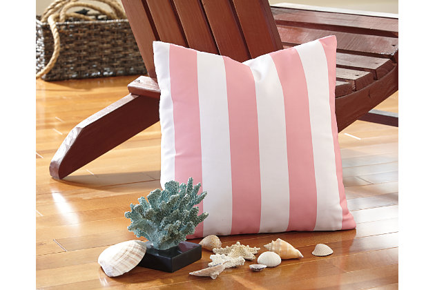 White & Pink Hutto Pillow by Ashley HomeStore, Polyester (100 %)