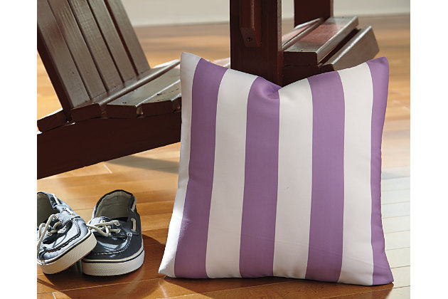 White & Purple Hutto Pillow by Ashley HomeStore, Polyester (100 %)