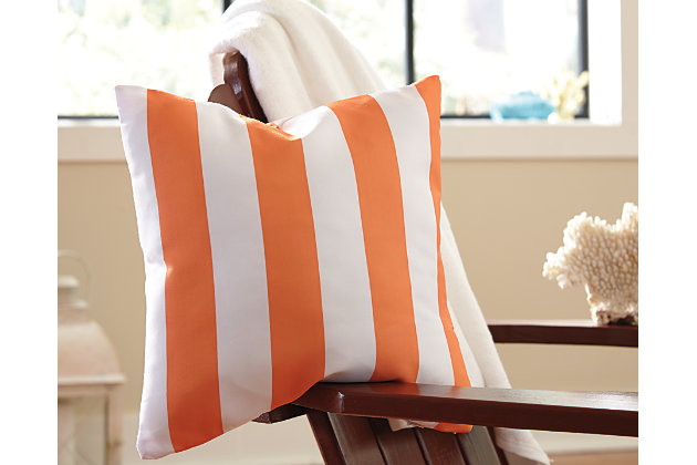 Orange & White Hutto Pillow by Ashley HomeStore, Polyester (100 %)
