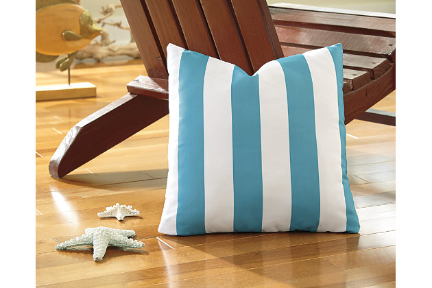 Blue & White Hutto Pillow by Ashley HomeStore, Polyester (100 %)