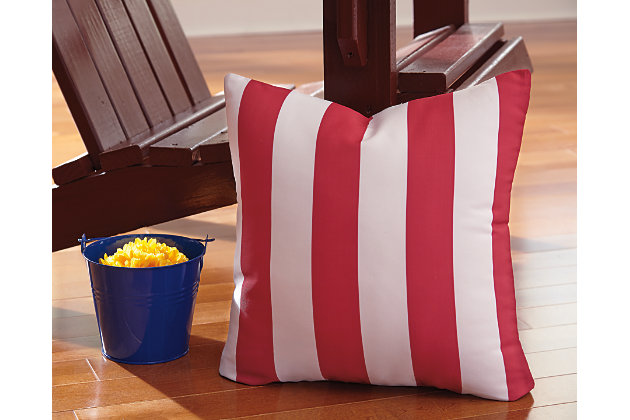 Red & White Hutto Pillow by Ashley HomeStore, Polyester (100 %)