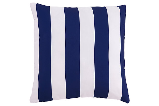 Hutto Pillow by Ashley HomeStore, White & Blue, Polyester (100 %)
