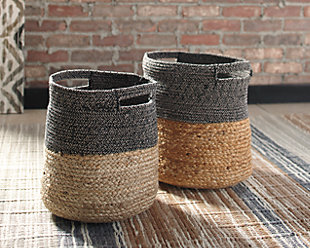 Parrish Natural/Black Basket (Set of 2), Natural/Black, rollover