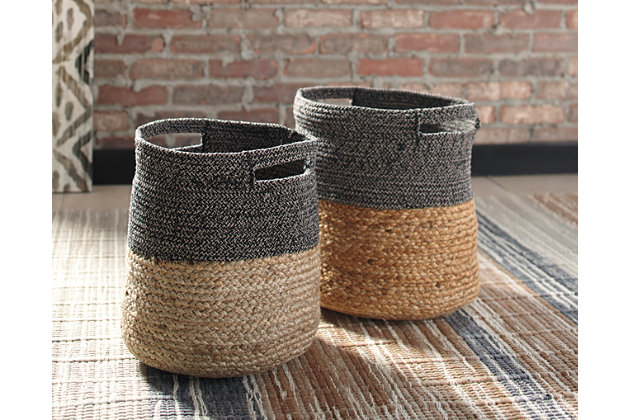Parrish Natural/Black Basket (Set of 2), Natural/Black, large