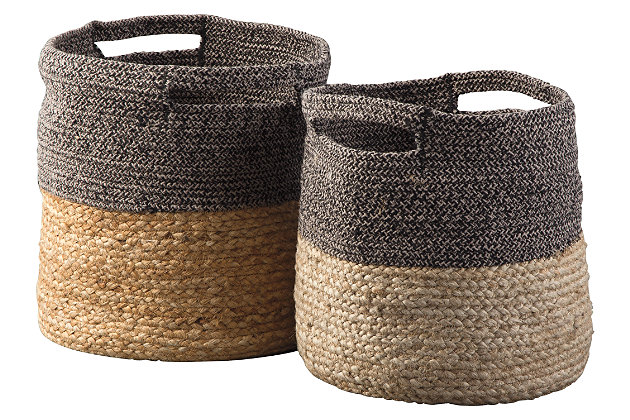 Parrish Parrish Natural/Black Basket (Set of 2), , large