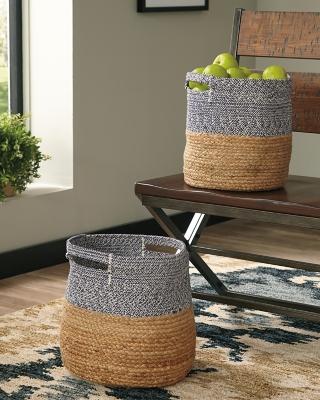 Parrish Natural/Blue Basket (Set of 2), Natural/Blue, large