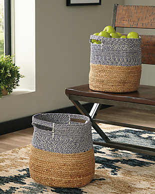 Parrish Natural/Blue Basket (Set of 2), Natural/Blue, large