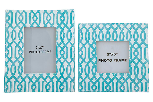 Baina Photo Frame (Set of 2), Teal/White, large