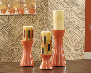 Cais Candle Holder (Set of 3), Orange, rollover