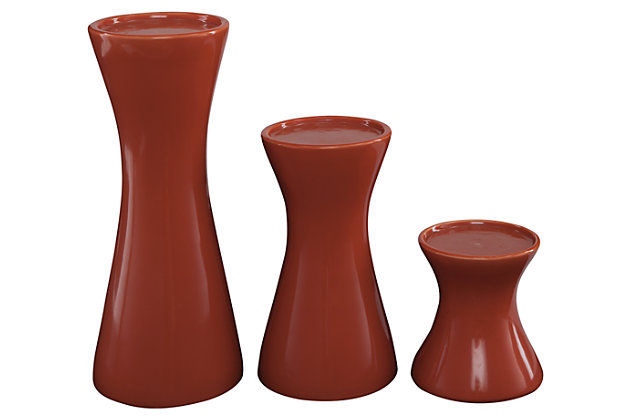 Cais Candle Holder (Set of 3), Orange, large