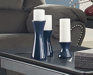 Cais Candle Holder (Set of 3), Navy, rollover